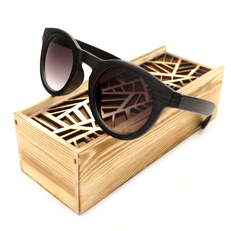BOBO BIRD CG009 Handmade Purple black Imitative Wood Sunglasses Women Beach Glasses Fashion Casual Ladies Oculos Dropshipping