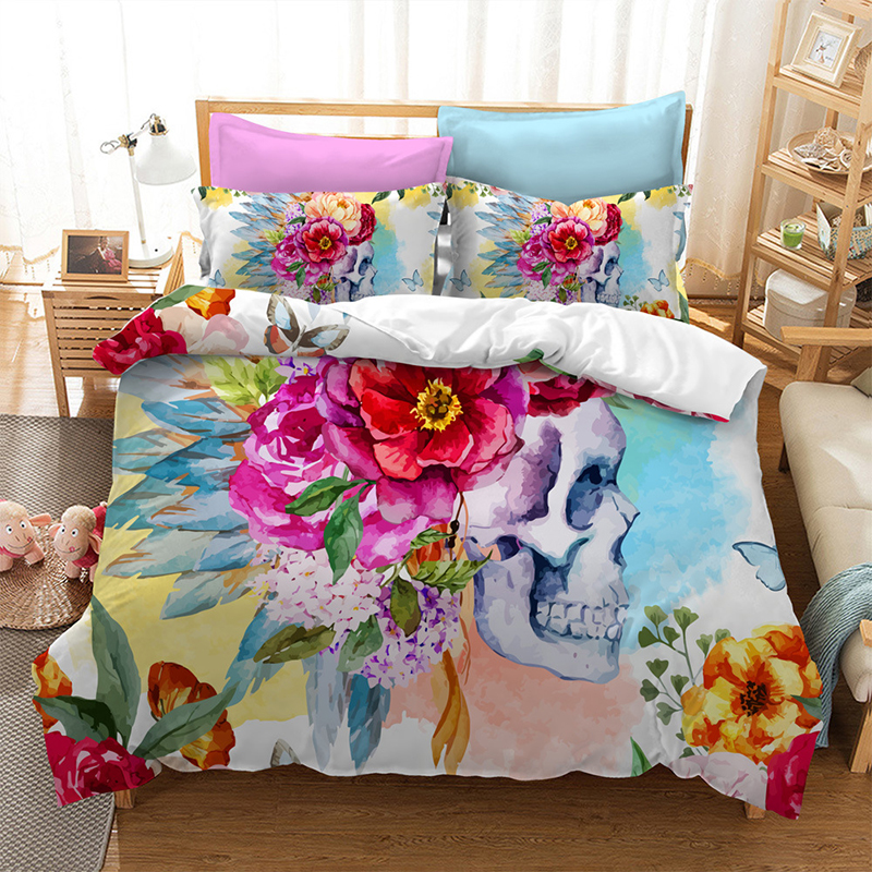 Flower Watercolor Skull head American size 3D Bedding three piece set childrens home textile polyester fiber without bed linenFlower Watercolor Skull head American size 3D Bedding three piece set childrens home textile polyester fiber without bed linen