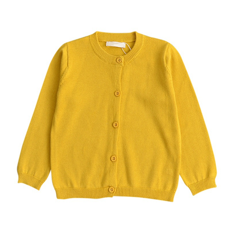 2017 Baby Children Lovely Clothes Boys Girls Candy Color Knitted Cardigan Sweater Kids Spring Autumn Winter Cotton Outer Wear