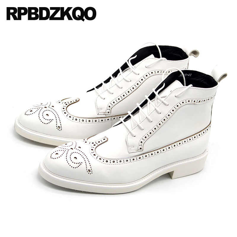 3f0c3db47a ... Mens Pointed Toe Dress Boots Booties Brogue Oxford Chunky Full Grain  Leather White Plus Size Formal