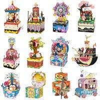 Музыкальная шкатулка Robotime для рукоделия, 3D Деревянный пазл, музыкальные игрушки, набор для сборки моделей, игрушки для детей, Детский Взросл...