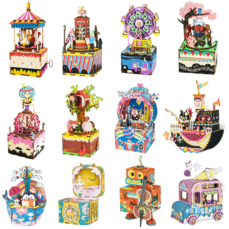 Robotime Music Box DIY 3D Wooden Puzzle Musical Toys Assemble Model Building Kits Toys For Children Kids Adult Birthday Gift