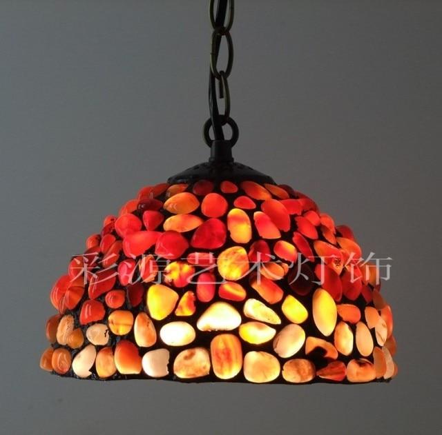 Export fashion handmade natural jade pendant light red amber agate stone bar pendant light hanglamp industrieel