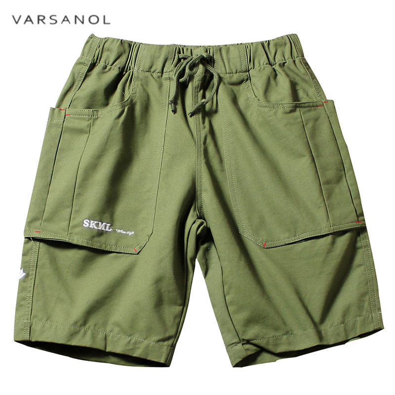 Varsonal Brand 2018 Men Cotton Shorts Mens Shorts Casual 2 Colors Mid Elastic Waist Embroidery Shorts For Man High Quality Hots