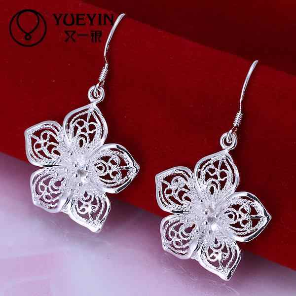 New Fashion Silver Jewelry Dangle Earrings for Women Sun Flower Hollow Design Cute Drop Earrings Wedding Jewelry cluaise E035