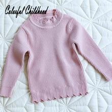 Свитер для новорожденных девочек; сезон осень-зима; хлопковый джемпер с длинными рукавами; пуловеры для маленьких детей; детская верхняя одежда