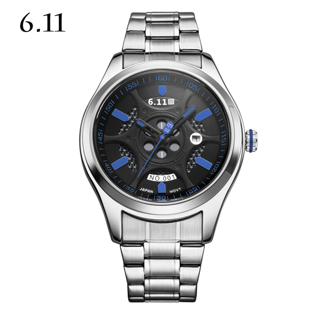 6.11 NEW solar Powered brand men watches with gift box luxury sports watches with Alarm Chronograph full steel wristwatch WGD001