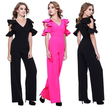 hot deal buy ruffle black elegant rompers womens jumpsuit one piece sexy v neck playsuits europe and the united states jumpsuits long rompers