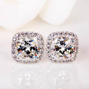 Stone Earrings Zircon Crystal Silver-Color Vintage Women Double Luxury Fashion for Female