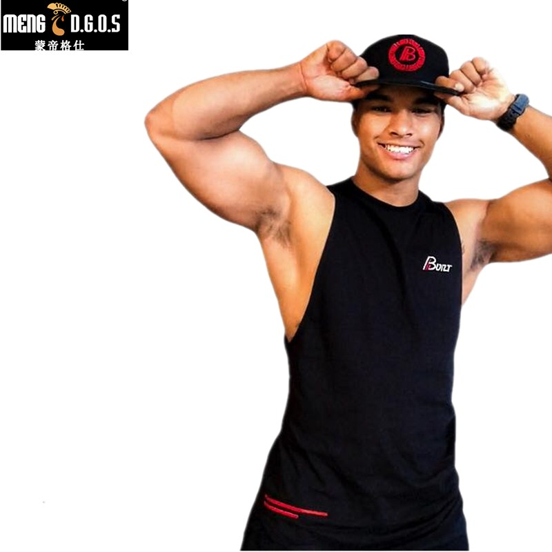 2018 Summer men   Tank     Tops   Muscle Sleeveless shirts fashion Cotton vest gyms workout Stringer Fitness Brand clothing