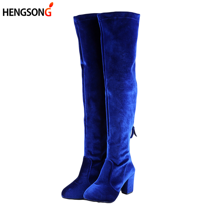 Square High Heels Slim Boots Female Over The Knee Boots Women Motorcycle Boot Plus Size Women's Thigh High Boots Shoes Woman nayiduyun new fashion thigh high boots women faux suede point toe over knee boots stretchy slim leg high heels pumps plus size