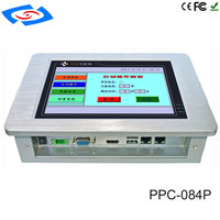 Factory Wholesale 8.4 Wall Mount Touch Screen PC IP65 Embedded Fanless Industrial Panel PC With Intel Atom N2800 Dual Core CPU