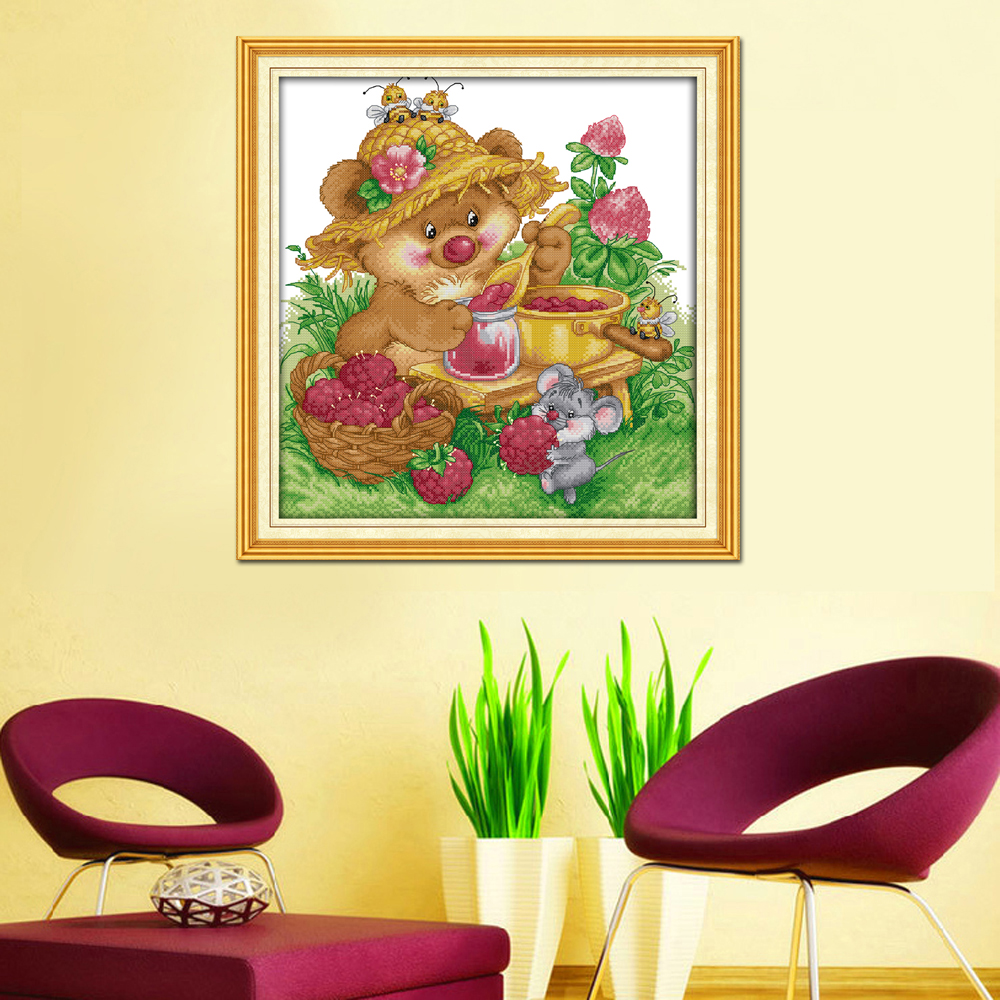 Joy Sunday Counted and Stamped Cute Squirrel Make Any Jam Needlework Embroidery DIY Cross Stitch kits for Home Decor K220