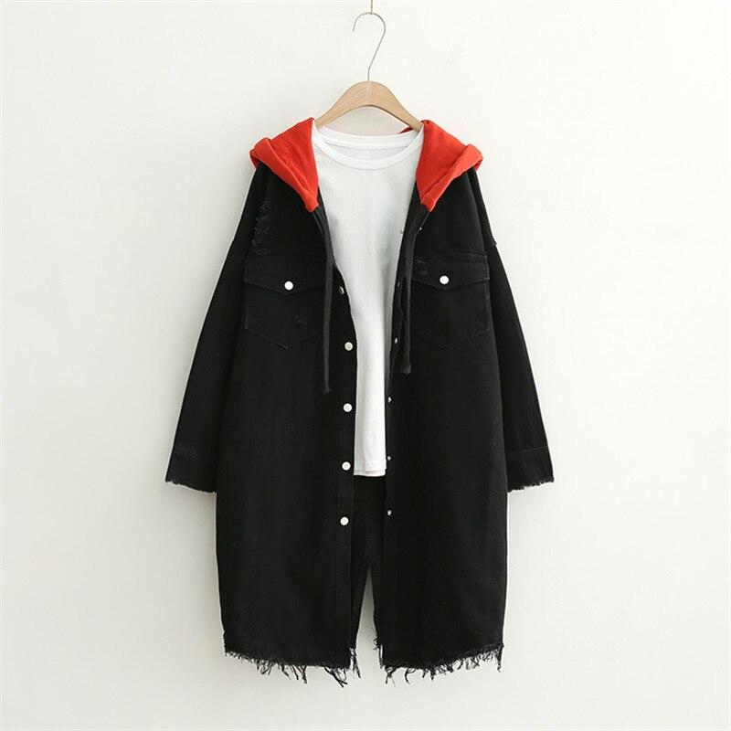 Hooded Denim Jacket Women Windbreaker Long Jeans Jacket Women Black Coat Oversized Spring Autumn Loose Harajuku