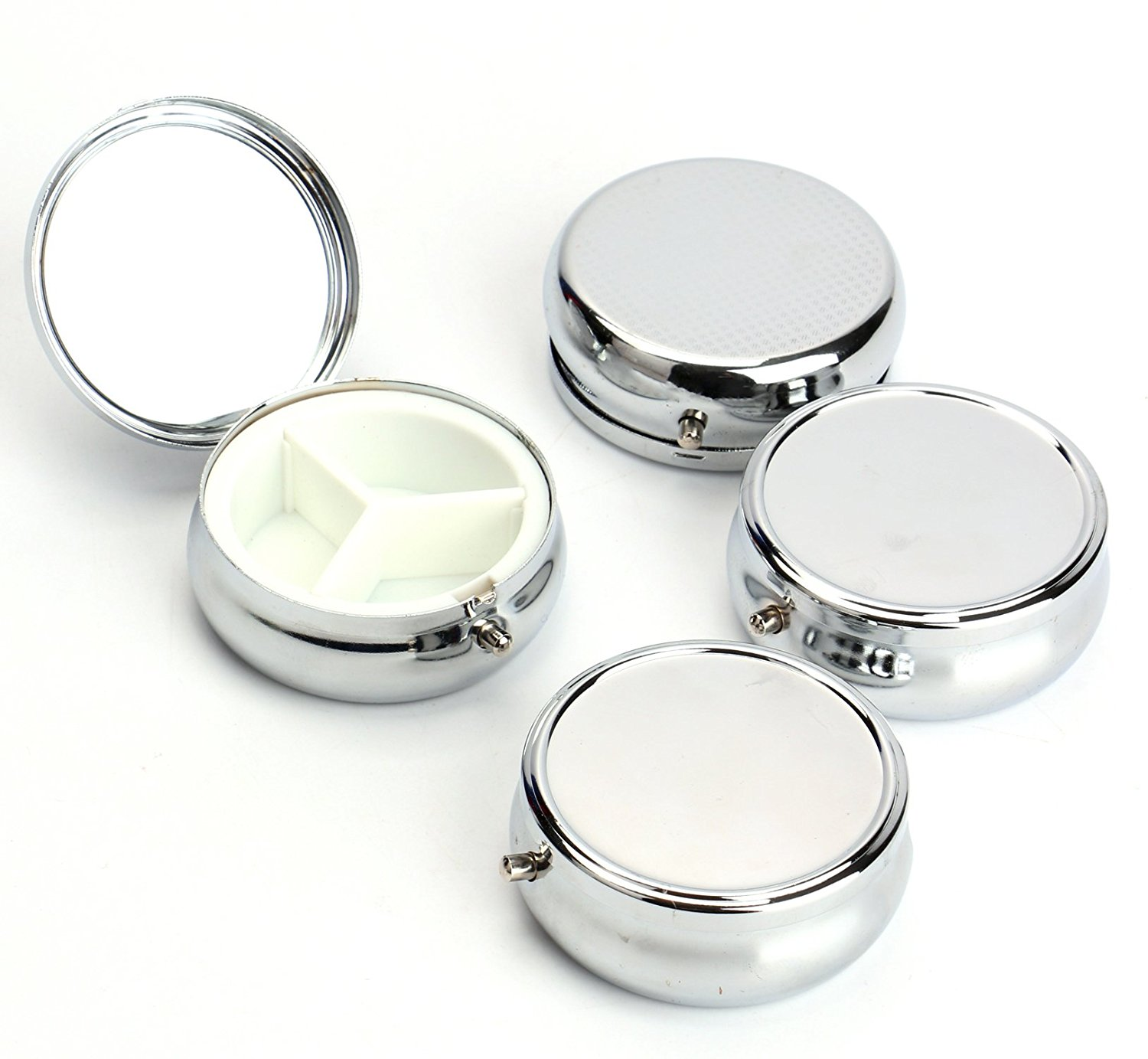 1Pcs Metal Round Silver Tablet Pill Boxes Holder 3 Compartment Medicine Case Container Small Hearth Makeup Storage Organizer