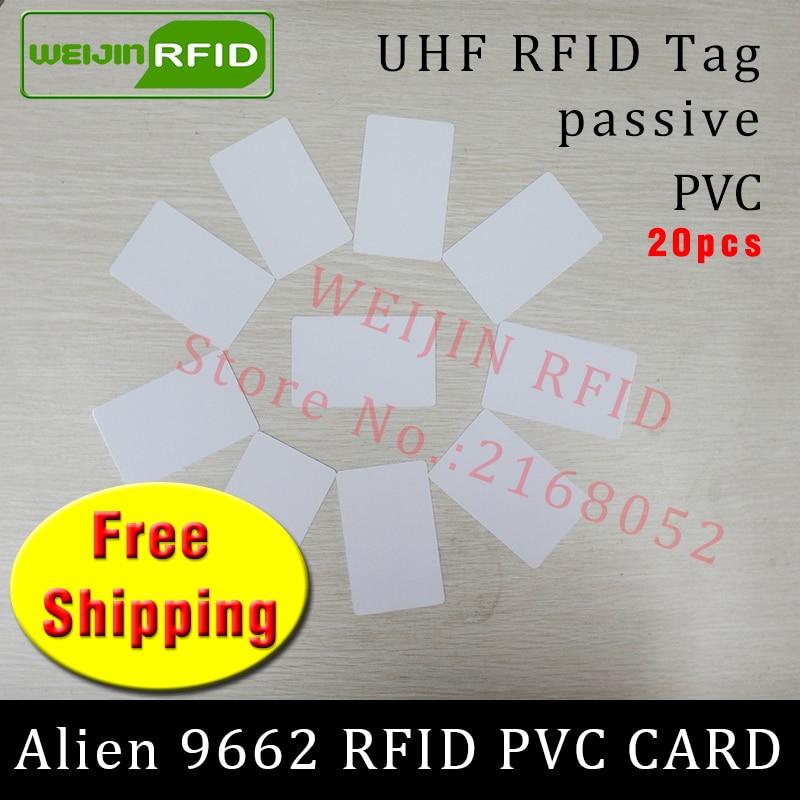 UHF RFID PVC card Alien 9662 915m868m860-960MHZ H3 EPC 6C 20pcs free shipping long reading distance smart card passive RFID tag uhf readers 18000 6b card 915 uhf long range card ic card uhf rfid paper tag sticker passive uhf paper windshied tag cheap tag