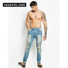 Фотография Manvelous Jeans Joggers Male Moto & Biker Spring Plain Straight Hole Patchwork Cotton Blends Zipper Men