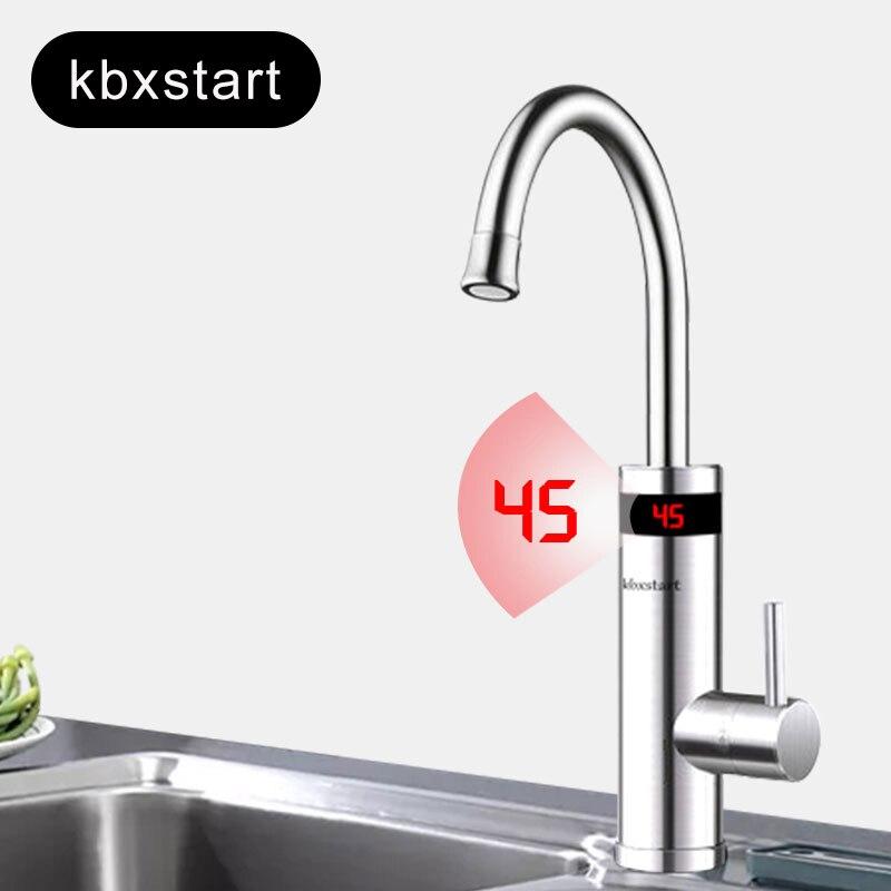 220 V robinet de chauffe-eau électrique en acier inoxydable robinet de chauffage instantané sans réservoir robinet de cuisine eau chaude avec température Led
