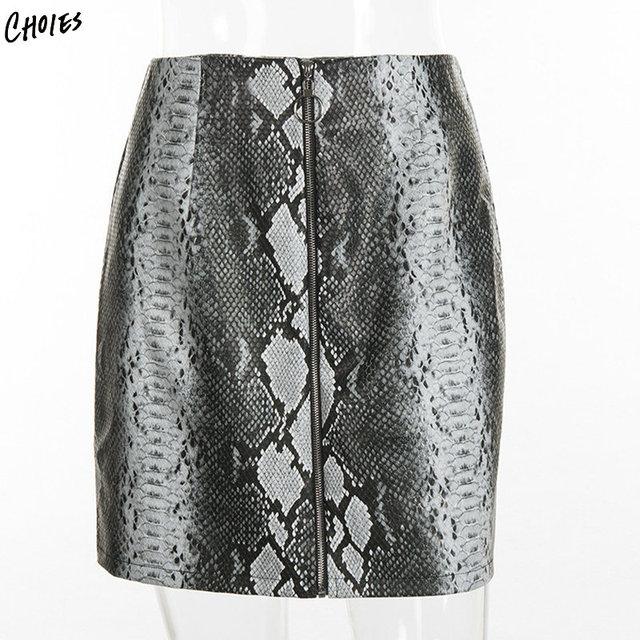 e5285defc0726 Black High Waist Snake Print Faux Leather Look Pencil Mini Skirt Saia Women  High Street 2018 New Spring Fashion Bottom Wear