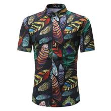 Floral Shirt Men Fashion Feather Printed Blouse Casual Short Sleeve Slim Leisure Shirts Man Tops New sexy snake printed blouse shirt office lady puff sleeve casual shirts female elegant spring autumn blouse tops