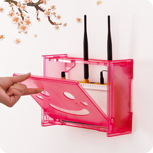 Cute Self-adhesive plastic TV Set-top storage rack decorative wall shelves organizer HDF STB Routers storage box