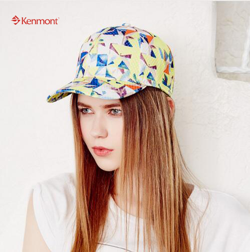 Kenmont Brand Summer Women Adjustable Buckle Baseball Sun Hat Colorful Comfortable Cotton Fabric Caps 3368
