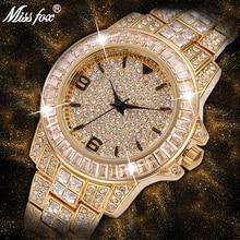 MISSFOX męskie zegarki męskie 2020 bagietka diamentowy zegarek mężczyźni luksusowa marka mężczyzna zegarek 18K złoty wodoodporny zegarek kwarcowy zegarek