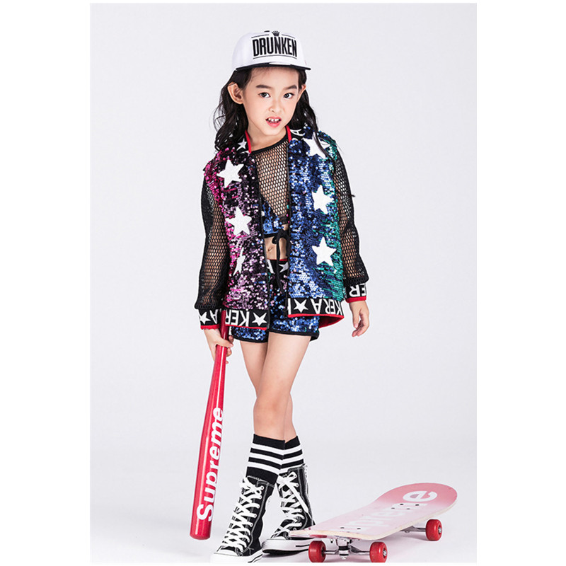 Children Girls hip-hop performances Costume Sets Children Uniforms Sequined stars Clothes Stage Halloween Party Clothing