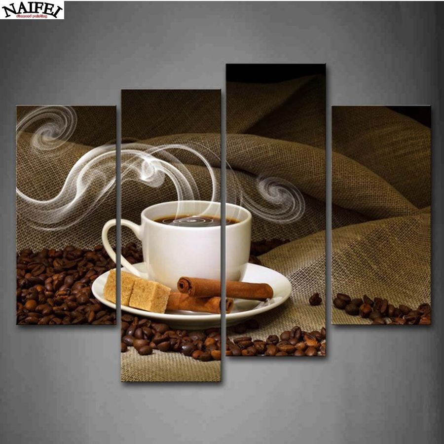 Diamond Painting,4 Piece Canvas Art Coffee Kitchen Modern Abstract Painting Wall Pictures for Living Room Decor DIY Embroidery