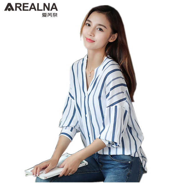 e28080a6e69 US $12.5 27% OFF|kimono oversized women's long sleeve striped blouses  batwing sleeve loose tops female v neck cotton tunics shirts blusas  mujer-in ...