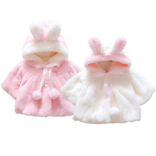 Kids Baby Girls Rabbit Bunny Ear Hooded Coat Warm Jacket Snowsuits Outwear 0-4T Winter Clothing(China)