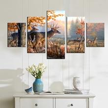 Drop Pengiriman Lukisan Minyak Wall Art Canvas Prints Gratis Pengiriman Colorful Deer Lukisan Modular Gambar untuk Living Room Wall