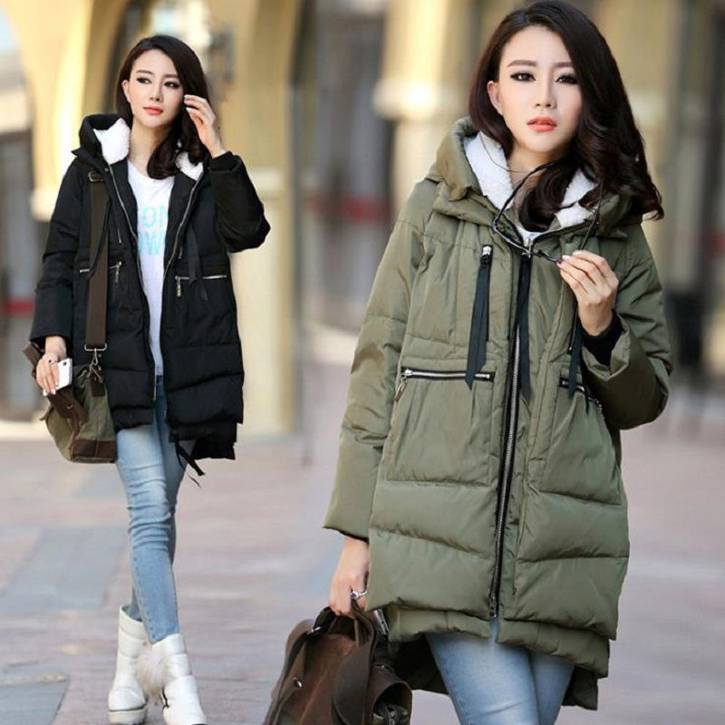 SHIBEVER de las mujeres de invierno cálido chaquetas abrigos básicos Parka larga prendas de vestir exteriores de algodón de la chaqueta de moda S-3XL Casual mujer Abrigos BJT601