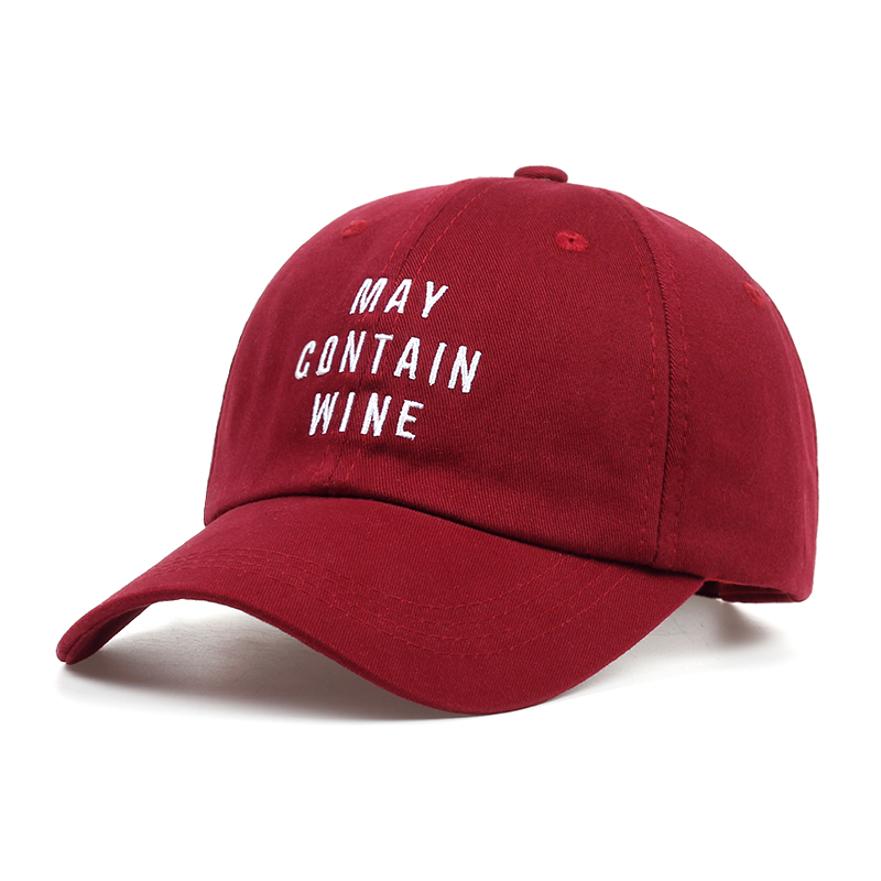 Wine Red Dad Hat 100% Cotton MAY CONTAIN WINE Embroidery Baseball Cap Fashion Unisex Snapback Women Men Casquette Adjustable beyonce ivy park baseball cap brand fashion style cotton hemp ash hat embroidery unisex snapback caps adjustable women man