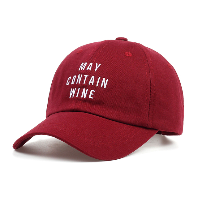 afc2b1fd8b41a Wine Red Dad Hat 100% Cotton MAY CONTAIN WINE Embroidery Baseball Cap  Fashion Unisex Snapback