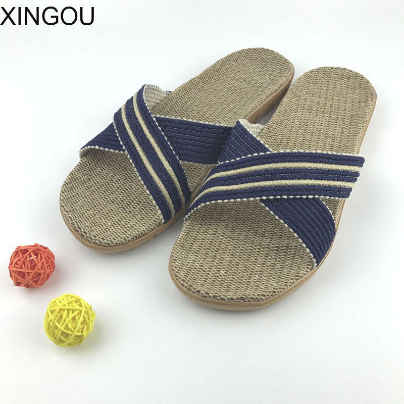 New men home slippers Natural flax slippers home Hemp Comfortable male slippers home indoor men home slipper and Linen Slides