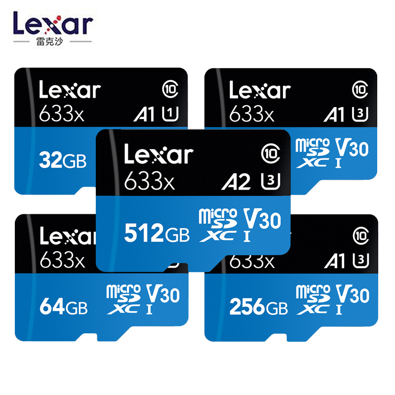 Lexar 633x High Speed Micro SD Memory Card 32GB 64GB 128GB Max 95M/s C10 256G 512G Capture Adventures In HD Included Adapter