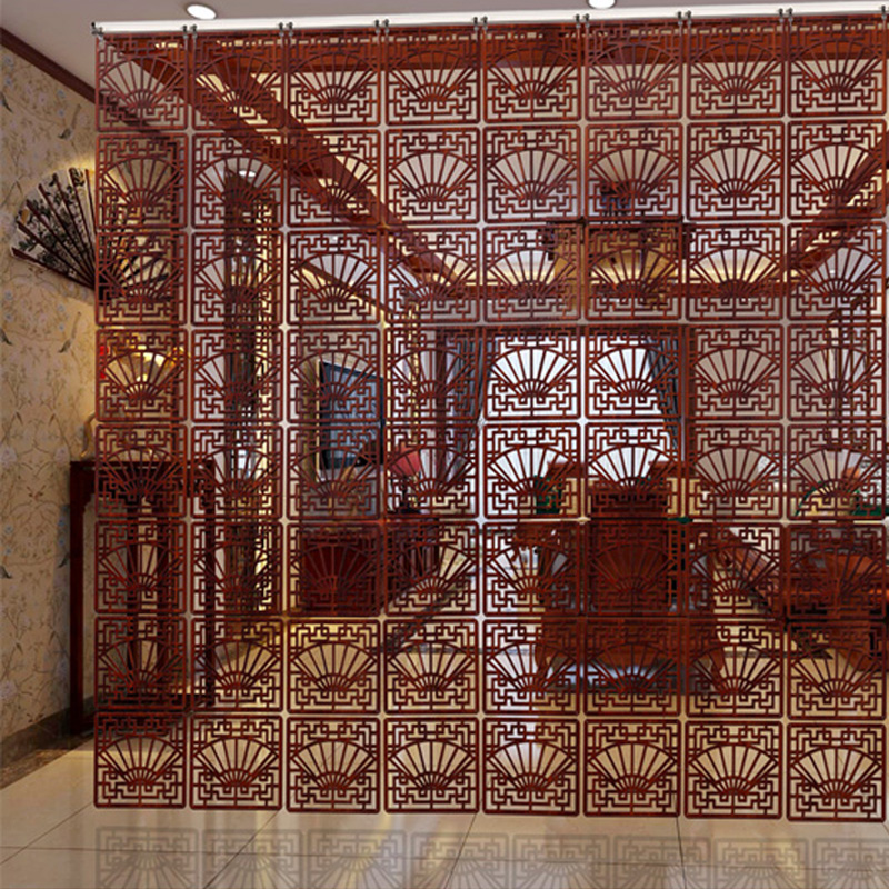 Entranceway Door Hanging Screen 29*29cm Wood Carving Vintage Cutout Fashion Partition Modern Brief Decoration Curtain