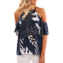 купить Sexy Women Strapless Floral Printed Blusa Navy Blue Off Shoulder Tops Ruffle Shirts Summer Loose Casual Chiffon Blouse Lx326 дешево
