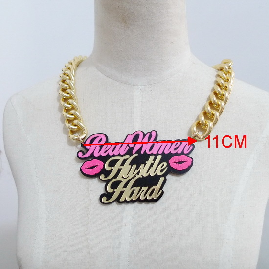 CUN-6 Acrylic gold plating chains custom real women name necklace