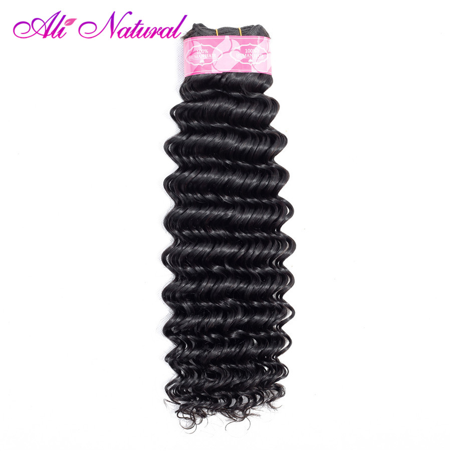 Ali Natural Deep Wave Brazilian Hair Weave Bundles Natural Color 1 Piece Only Non Remy Hair 10-26inch Can Buy More Pieces