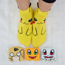 1 Pair Cute Cartoon Anime Women Short Socks Pokemon Pikachu/Squirtle/Psyduck/Charmander Women Summer Short Ankle Socks(China)
