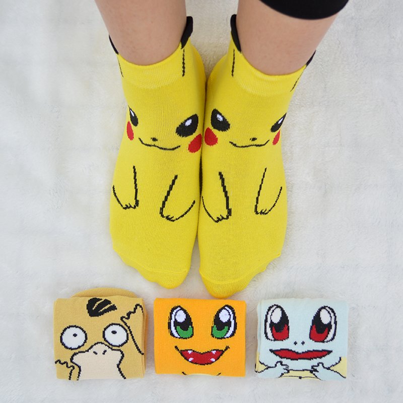 1 Pair Cute Cartoon Anime Women Short   Socks   Pokemon Pikachu/Squirtle/Psyduck/Charmander Women Summer Short Ankle   Socks