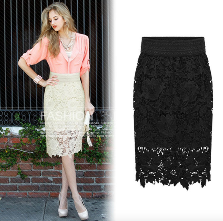 Wholesale High Quality  New Women Lace Skirt A-Line Hollow Out White Black SKirt Knee Length Plus SIze 3XL Free Shipping