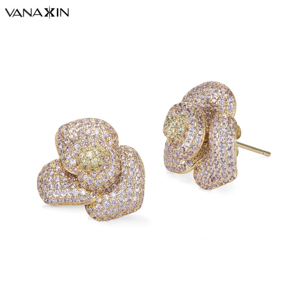 VANAXIN Big Flower Stud Earrings For Women Pink Yellow CZ Stone Earrings Luxury Party Gift Cubic Zirconia Jewellery Female Box