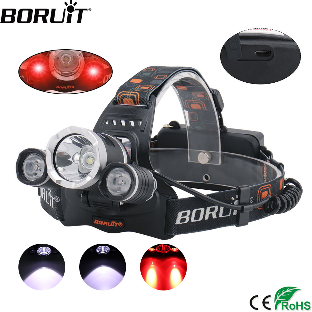 BORUIT XML T6 XPE Merah LED Headlamp 18650 Baterai USB Charger Headlight 3-Mode Tahan Air Kepala Torch Camping Berburu Senter