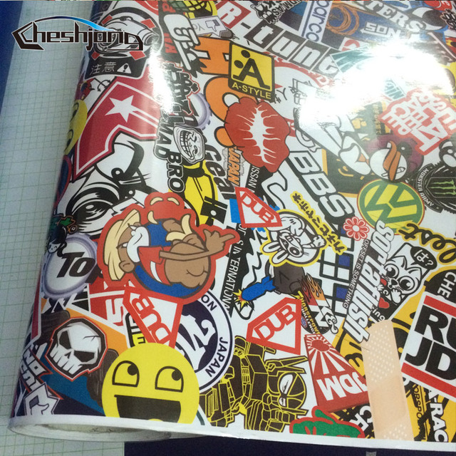 Glossy JDM Cartoon Sticker Bomb Vinyl Film Full Car Body Wrap Motorcycle Scooter Skateboard Racing