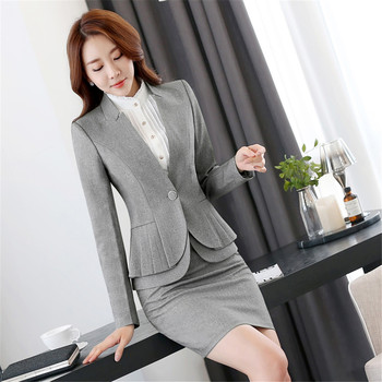 Business suit office uniform designs women skirt suit woman work suit for spa uniform and front desk women elegant skirt suits 1