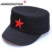 2018 nuevos hombres militares sombreros mujeres algodón plana papá clásico  cinco estrellas Planas invierno sombreros para 76bb673dc6e