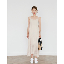 spring and autumn new 2018 women dress apricot sling chiffon straight Loose long medium section summer